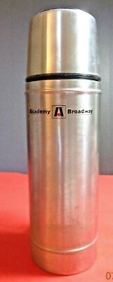 ACADEMY BROADWAY STAINLESS STEEL THERMOS WITH CUP HANDLE QUART SIZE HOT COLD F10