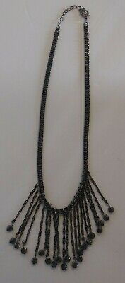 Vintage Statement Necklace Metal Cascading Beads Steam Punk Gothic Jewelry