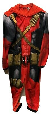 Marvel Deadpool Costume Mens Medium Union Suit Pajamas Hooded Mask
