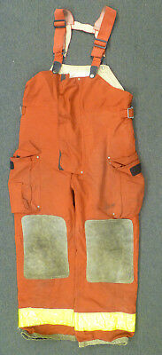 36x30 Globe Red Pants With Suspenders Firefighter Turnout Bunker Fire Gear P963