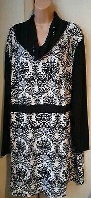 Flapper Dress Size 22 (■ Bnwt (£32) Size 22 Warm Cowl Neck Dress. Black/Multi.  Flapper/Gatsby.)