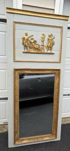 Antique Greek Goddess Trumeau Mirror French Regency Shabby Gold Detail Frame vtg