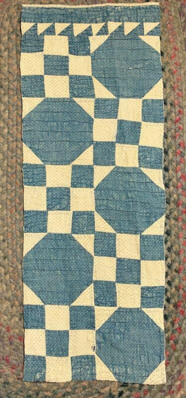 "Antique Fabric Cutter Quilt Piece Indigo Blue Dot Farmhouse Prim  13""x34"""