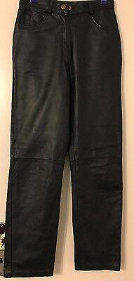 Deutsch Lederhosen (Neuwertige schöne schwarze Leder-Hose mit Innen-Futter, Deutsche-Größe 36 )