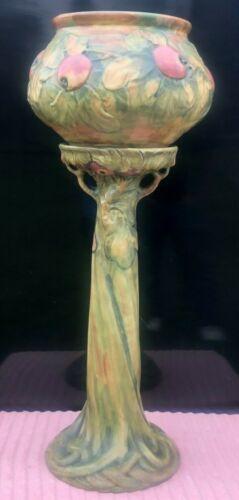 "Weller Pottery Baldin Apple Tree Pedestal & Jardiniere 38 1/2"" Larger Size! EXC!"