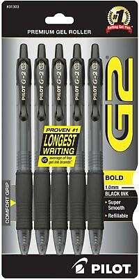 Pilot G2 Retractable Gel Pen Bold Point Black Ink 5pack 31303