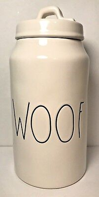 Rae Dunn Woof Canister Pet Dog Treat Container Big Letters Artesian Magenta New