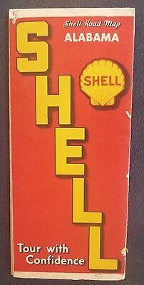 1937 Alabama  road map  Shell oil gas radio log