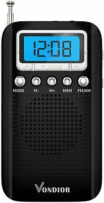 Digital AM FM Portable Pocket Radio with Alarm Clock- Best Reception and Longest