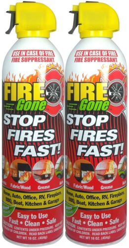 Max Professional Fire Gone White/Red Fire Suppressant Canisters - 16 oz (2 Cans)