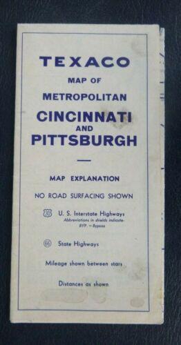 1946 Cincinnati Pittsburg street road map Texaco oil gas Ohio Pennsylvania