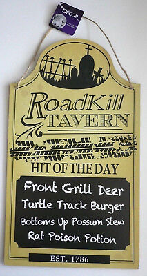 ROADKILL TAVERN Hit of The Day Menu Wall/Door Plaque Sign Halloween Home Decor w