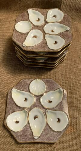 Oyster Plate Octogon 5 Well with Sauce Well Brown Gold Accents - 7 Available