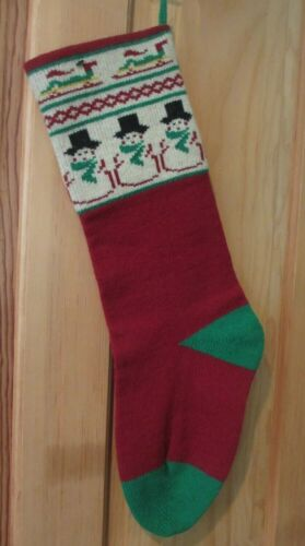 LNWOT SPECIALTIES IN WOOL HAND KNIT VERMONT CHRISTMAS STOCKING NORDIC SNOWMAN