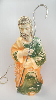 """Vintage Poloron Nativity Wise Men King Blow Mold Lighted Yard Decor 25"""" W/ STAFF"""