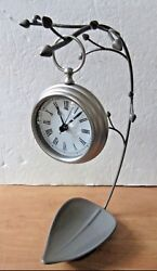 Large 3.5 Pottery Barn Chrome Pocket Watch Style w Umbra Orchid Jewelry Stand