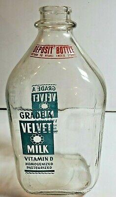 Vintage Half Gallon Milk Bottle Two Color Velvet Freeze Ice Cream ST LOUIS
