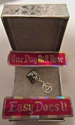 Alcoholics Anonymous AA Symbol Italian Bracelet Stainless Steel Hanging Charm