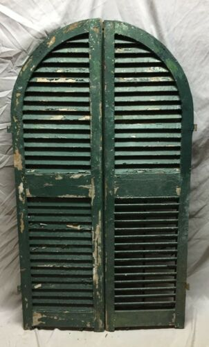 Antique Pair Arched Dome Top Wood Louvered Window Shutters 15X54 Old Vtg 22-19C