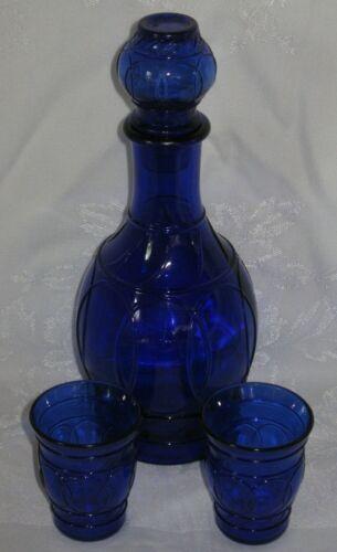 Vintage Cobalt Blue Art Glass Decanter with Stopper & Glasses