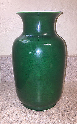 Antique Chinese Apple Glaze Porcelain Vase Rare Green Color