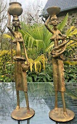 AFRICAN BRONZE STATUES PAIR ROUGH CAST WOMEN AFRICAN ART 1.4 KG