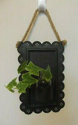 Scalloped Punched Tin Wall Vase or Plant starter, rope hanger, Unique and cute - Tin Vase