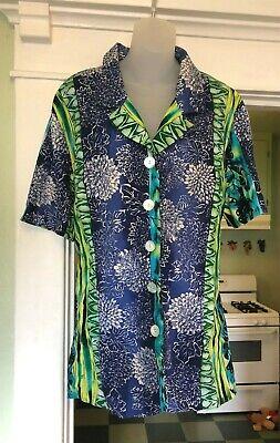 Sharon Anthony Woman Top Shirt Blouse Plus Size 20W Linen Blend Blue Green Plus Size Linen Blend Shirt