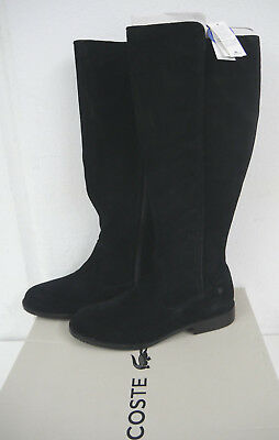 c381e26ed7a25 AUTH Lacoste Rosolinn Tall 5 SRW Leather Black Suede Knee High Boots