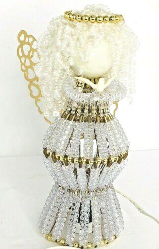 "Vintage Handmade BEADED Safety Pin CHRISTMAS Angel  Light 10.5"""