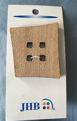 """ONE ~JHB~ Large Natural Wood Wooden Sew-through Button 1 Card 1 3/4"""" 44mm #85649"""