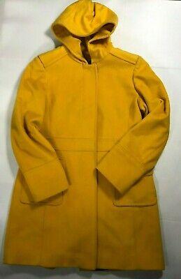 Michael Michael Kors Yellow Hooded Long Sleeve Wool Coat Size 10 AS IS