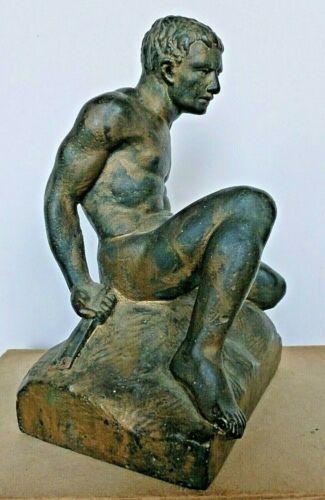 Male Nude Gladiator Figure Sculpture Bronze-Clad Single Bookend C.1920