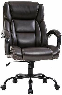 500 Lb Heavy Duty High Back Tall Desk Executive Ergonomic Leather Brown Chair