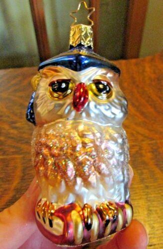 INGE-GLASS BLOWN GLASS OWL GRADUATE CHRISTMAS ORNAMENT