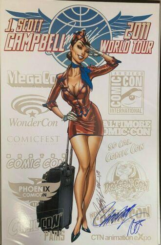 WORLD TOUR 2011 RED J.SCOTT CAMPBELL & NEI RUFFINO SIGNED PRINT 11 x 17 #oa-1213