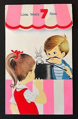 Vintage Gibson Birthday Card 7 Year Old ~ 3D Magician Bunny in Hat ~ USED