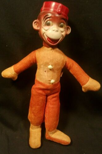 "Vintage Monkey Bell Hop Toy Doll-Celluloid Head-Corduroy Body-Japan-12"" tall"