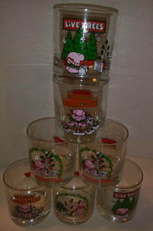 Lot of 7 Ziggy Christmas Barware Holiday Glasses Vintage 1980