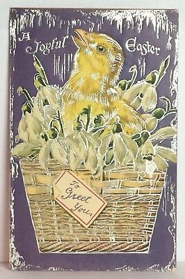 PostCard A Joyful Easter Greet You Little Chick Basket Posted 3-23-1910 Vintage