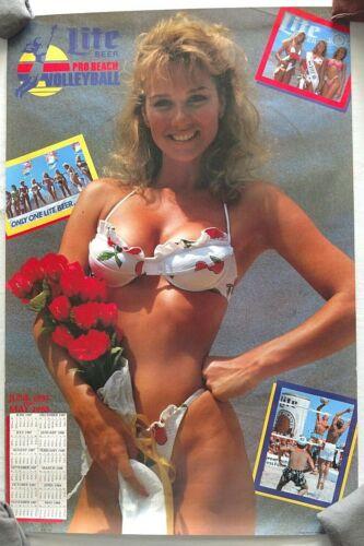 Vintage Poster Debbie Dunning Miss Lite Beer Pro Beach Volleyball Bikini Beer 87