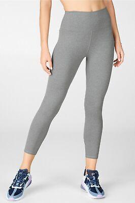 NWT Fabletics High Waisted Heathered Gray Capri Leggings Womens Large NEW