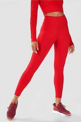 Fabletics High-Waisted Solid PowerHold® 7/8 Persimmon Red Size Large NWT $69.95