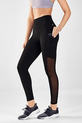 Fabletics Mila High-Waisted Pocket Legging Black Mesh Size XS NWT MSRP $74.95