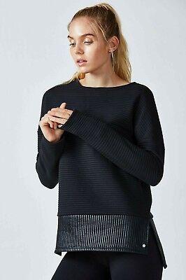 NWT Fabletics XS Pullover Sweatshirt Bre L/S Tunic Shiny Black Ribbed