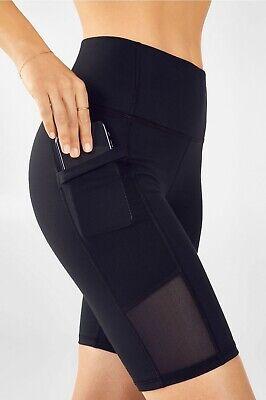 "Fabletics Mila PowerHold High Waisted Pocket Short 9"" Black, Size L NWT"