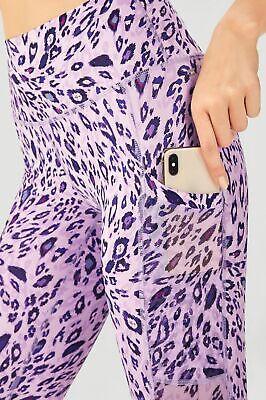 NWT - FABLETICS Women's MILA Purple Glam Leopard HIGH-WAISTED POCKET CAPRI - L
