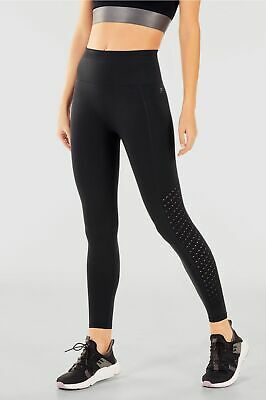NWT - FABLETICS Women's SYNC Black HIGH-WAISTED PERFORATED 7/8 LEGGINGS - XS