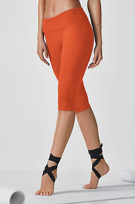 BNWT Fabletics Leggings Salar Crop Capri Orange L 14 16 Compression Yoga Large