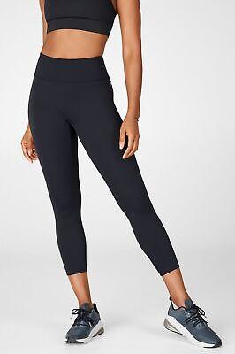 NWT Fabletics Trinity Black High Waisted Pocket Capri Leggings Womens Large NEW